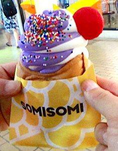 オアフ島 アラモアナセンター SOMISOMI SOFT SERVE & TAIYAKI たい焼き アイス